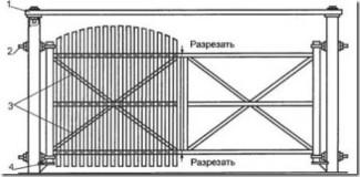 Схема ворот из дерева