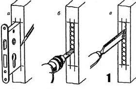 Схема врезки замка: а – нанесение разметки на торце металличсекого полотна; б – сверление отверстий; в – чистка внутренней поверхности паза.