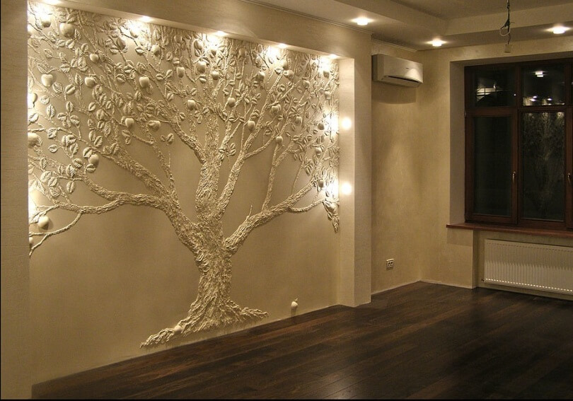 Отделка стен в квартире с помощью фрески