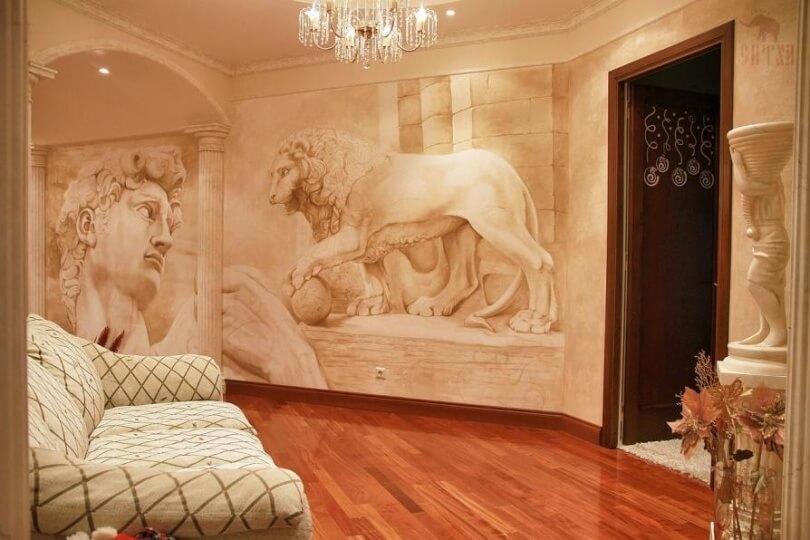 Фрески на стену в интерьере