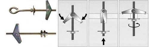 Механизм пружинного дюбеля дюбеля состоит в складных крыльях
