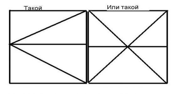 На первой схеме расположения створок ворот из профнастила или дерева. На второй схеме расположения створок ворот из стальных листов