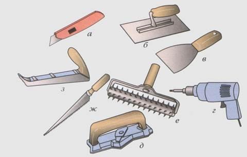 Для изготовления камина можно использовать инструмент, который обычно применяется для работы с гипсокартоном