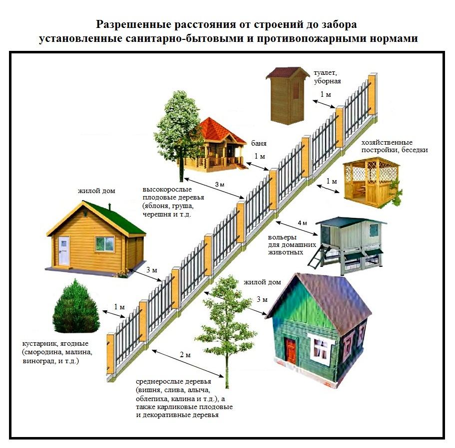 Расстояние от забора до соседей, деревьев, построек и дороги