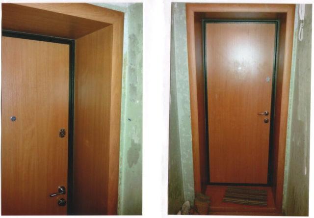 Отделка откоса для входной двери с помощью ламината