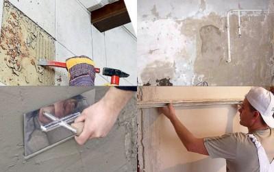 На фото основные этапы подготовки перед укладкой настенной плитки: демонтаж старой облицовки и выравнивание стен