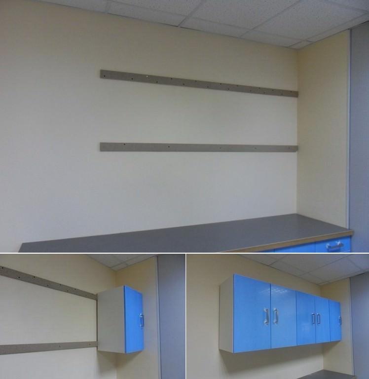 При использовании реек для навески шкафов, их необходимо крепить сквозь гипсокартон к каркасу