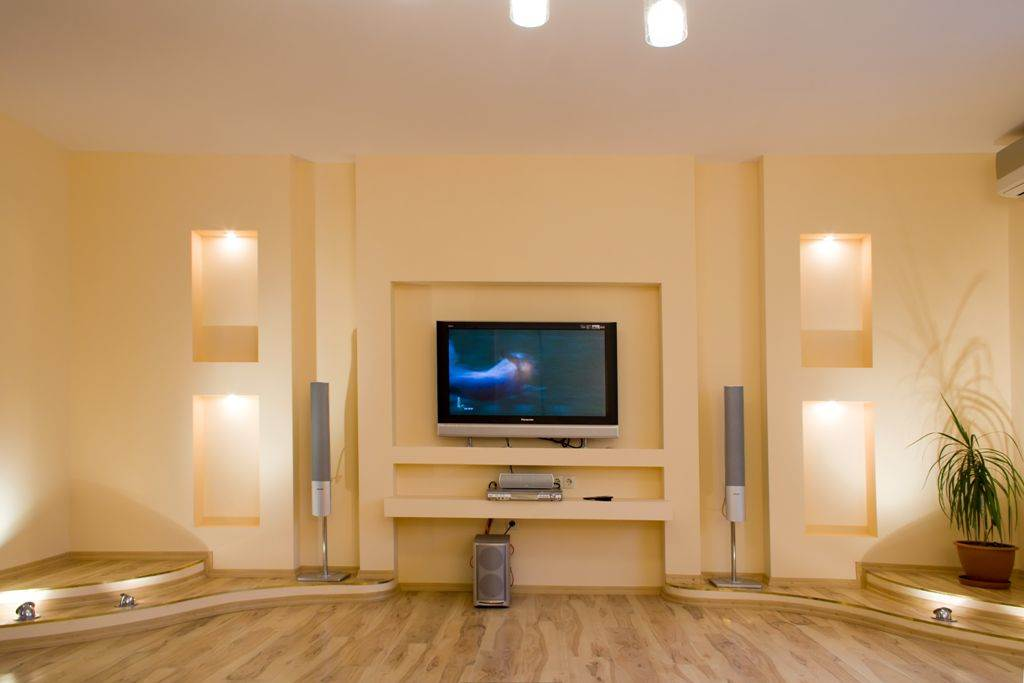 Стена для телевизора из гипсокартона своими руками 79
