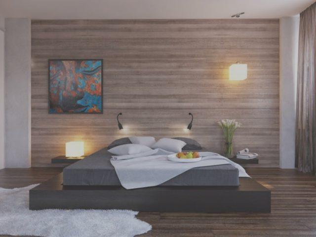Интерьер спальной комнаты с обоями под дерево