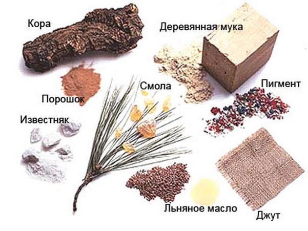 На картинке представлены натуральные составляющие, применяемые при производстве мармолеума.