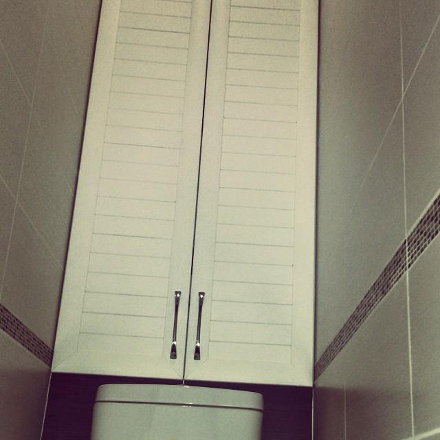 Шкафчик в туалете с унитазом