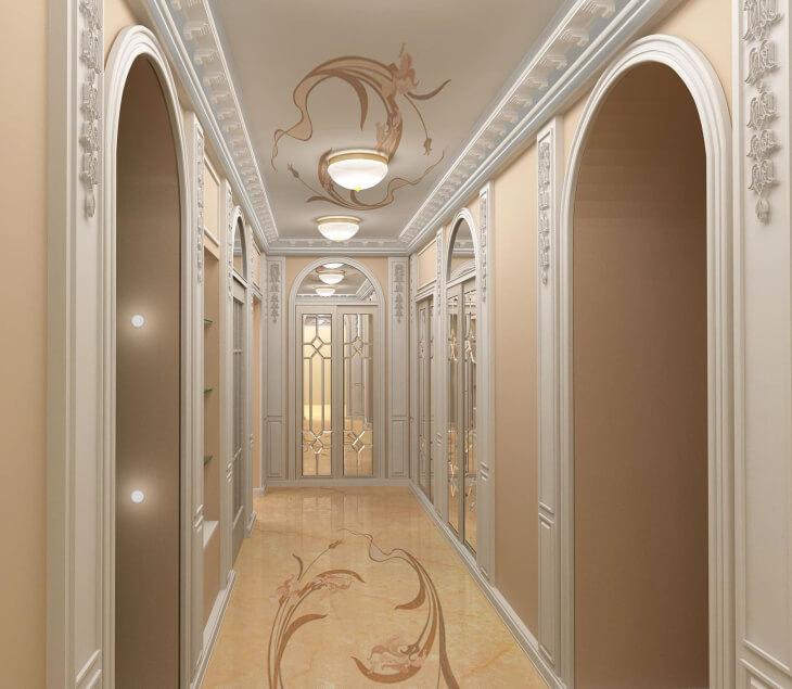 Зеркальные двери — отличный вариант для арочного проема