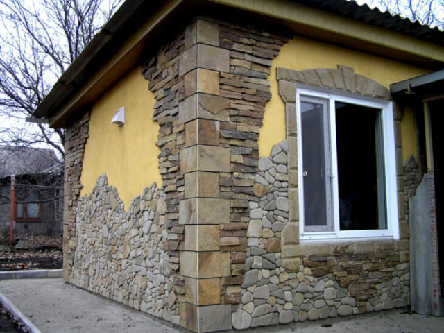 Отделка фасада рустик