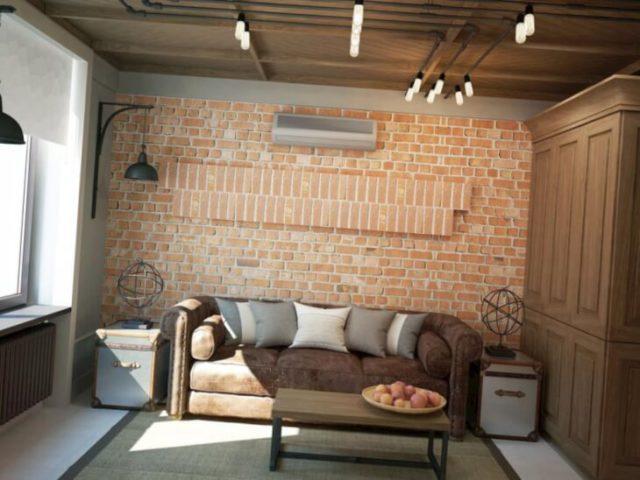 Имитация кирпичной кладки в интерьере квартиры