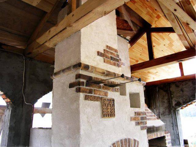 Декор русской печи с помощью рельефных фрагментов и кирпича