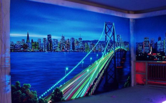 Люминесцентная краска для дизайна интерьера