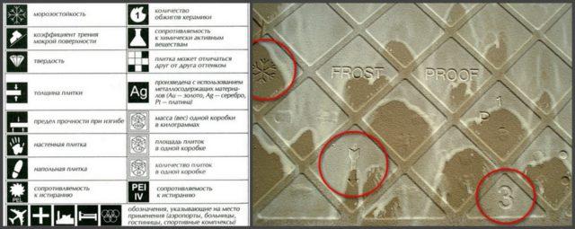 Условные обозначения на упаковке и на плитке керамогранита. Цифра 3 указывает наличие в упаковке плиток разного калибра с разницей до 1,5 мм