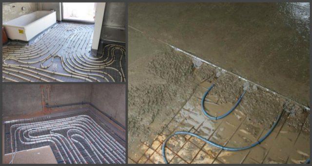 На фото уложенные на теплоизоляцию трубы, согласно схеме укладки и этап заливки цементной стяжки