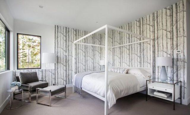 Обои с деревьями на стену в спальне