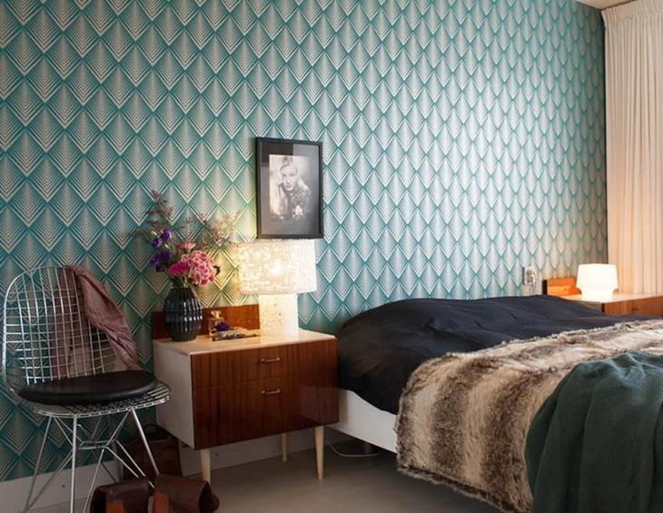 Обои с геометрическим рисунком в спальню