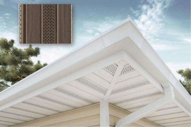 Подшивка свеса крыши софитом с перфорацией