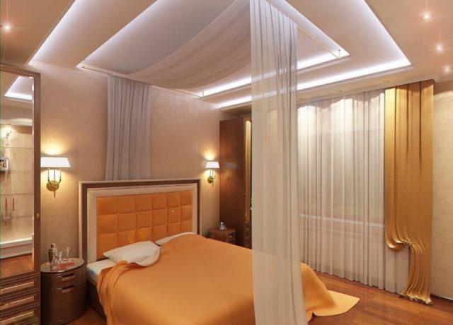 Потолок из ткани в спальне
