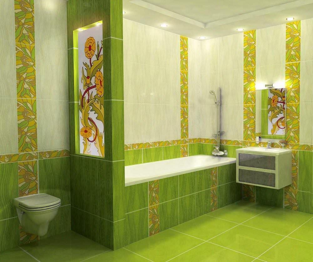 Салатовая ванная комната