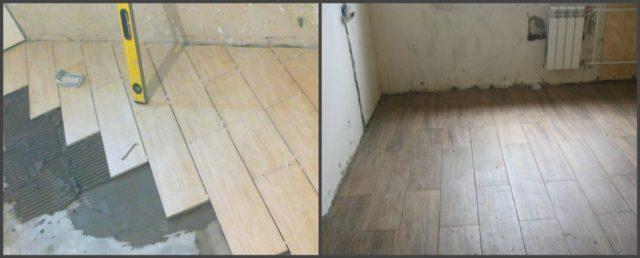 На фото два разных подхода в укладке кафеля под ламинат. Слева - с формированием швов крестиками, справа - с минимальным швом при помощи системы выравнивания плитки (СВП)
