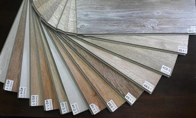 Листы обычного винилового ламината разных оттенков