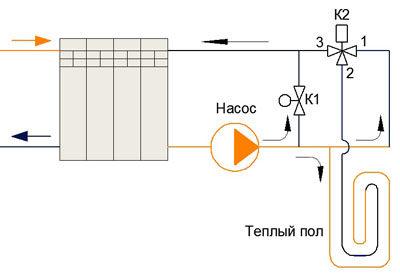 Схема с регулированием температуры с помощью трехходового клапана