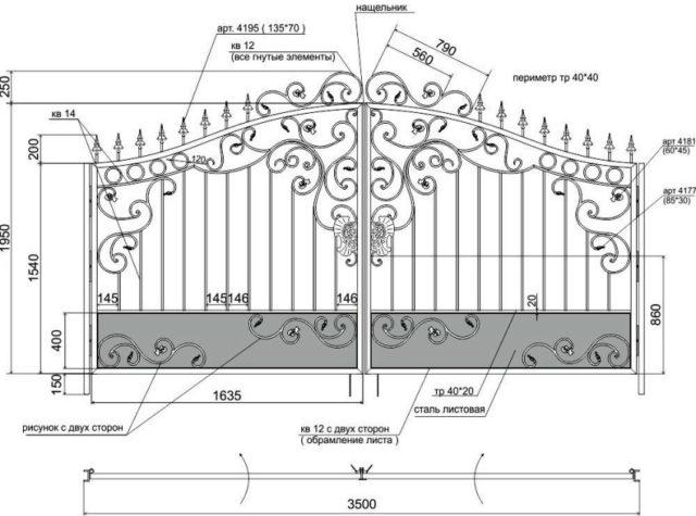 Схема конструкции кованных ворот