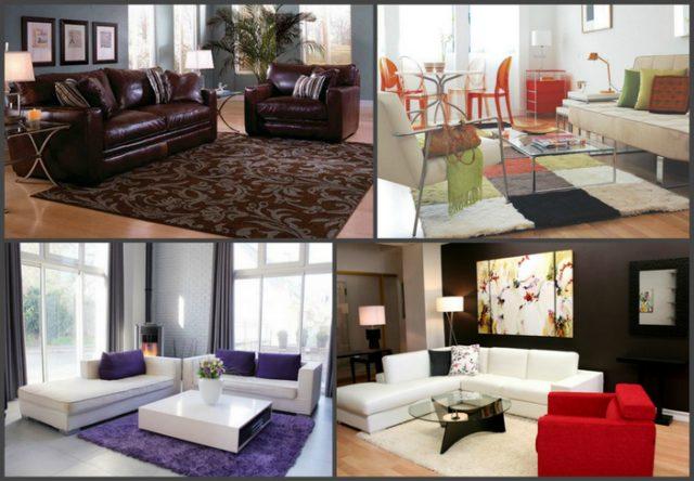 Цвет ковра, его фактура и форма должны соответствовать общему настроению помещения