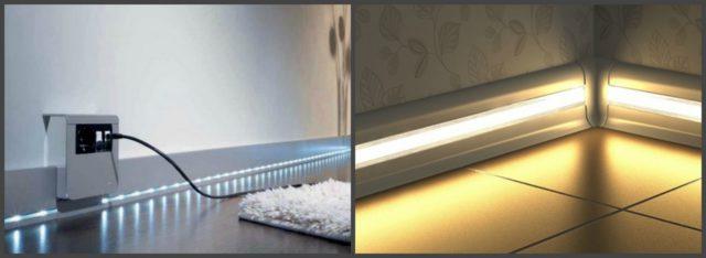 Напольные плинтуса со светодиодными и неоновыми лентами