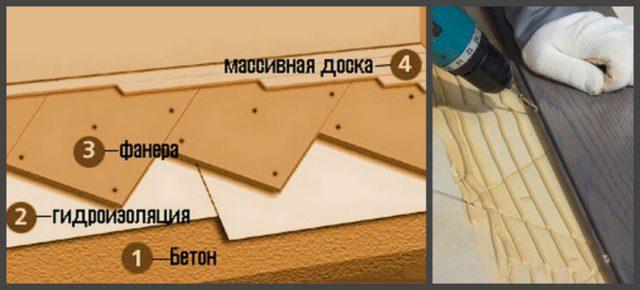 Массивная доска укладывается на фанерные листы. Основанием может служить как бетонный пол, так и деревянный на лагах