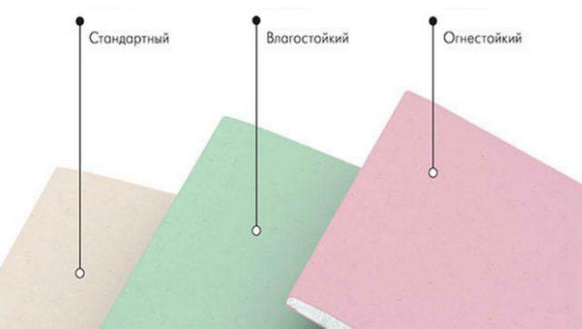 Разновидности гипсокартона можно различать по внешним признакам