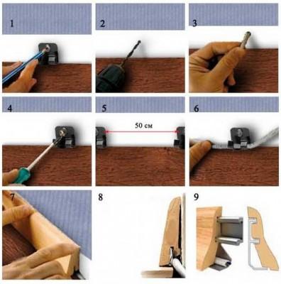 Пошаговая инструкция монтажа деревянных плинтусов