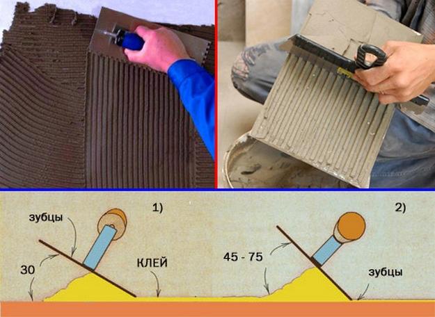 Нанося клей под углом 30° расход клеящего состава будет ниже, чем если наносить его под углами 45° и выше - все дело в зубцах шпателя