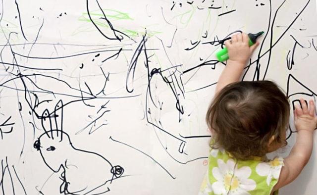 Чистим обои от детских рисунков
