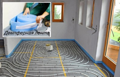 На фото показана укладка демпферной ленты перед стяжкой. Деформационные швы устраиваются также и в проходах между комнатами