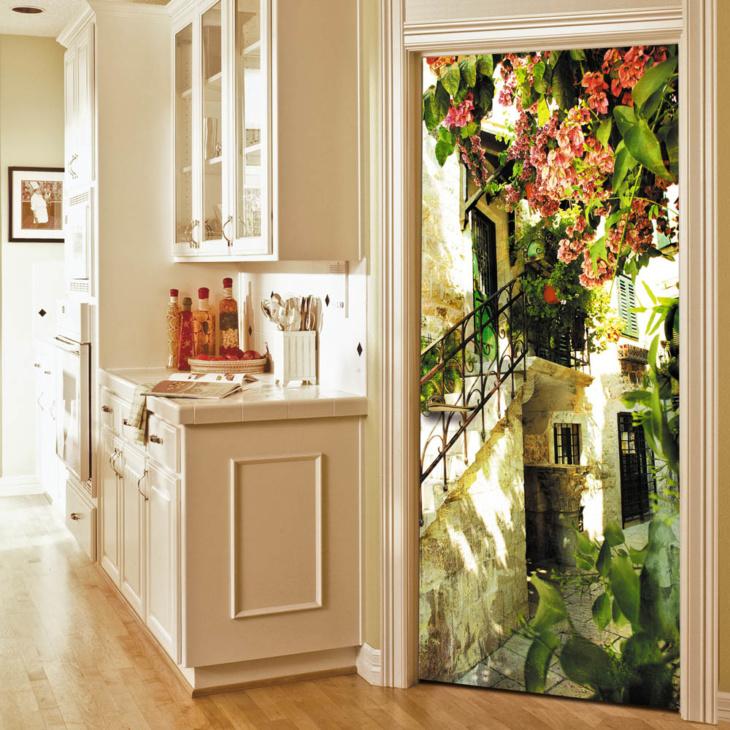 Фотообои на дверь в кухне