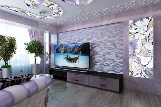 Интерьер комнаты с помощью гипсовых панелей 3d