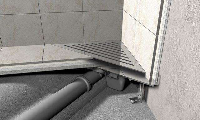 Размещение душевого трапа в углу ванной комнаты