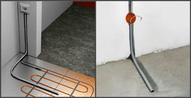 Датчик может прокладываться в штробе или по поверхности пола, укладывается он строго между нагревательными жилами кабелей теплого пола