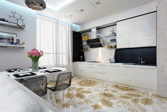 Кухня в стиле фьюжн - глянцевые поверхности, сочетание белых тонов и контраста черного