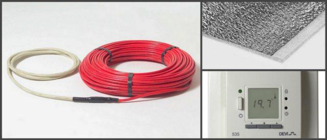 Греющий кабель, теплоотражающая подложка пенофол и терморегулятор