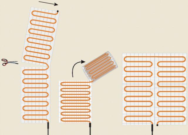 На рисунке показано как можно разрезать мат и укладывать секции в разных направлениях