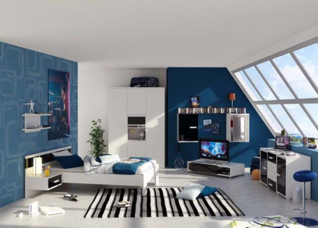 Дизайн интерьера в комнате мальчика-подростка