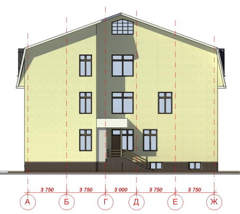 Фасад трехэтажного дома в осях
