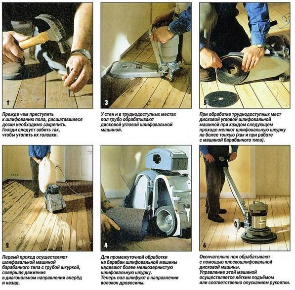Пошаговая технология шлифовки деревянного пола