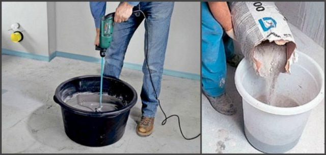 При приготовлении наливного пола раствор засыпается в воду, смесь перемешивается на малых оборотах миксера и остается стоять 5 минут. После перемешивание повторяется
